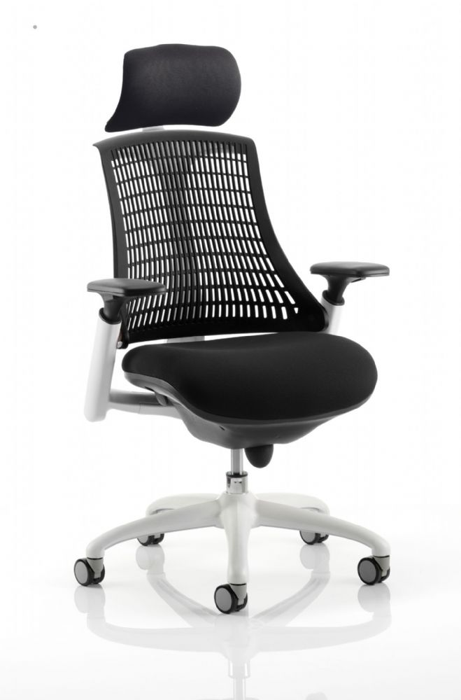 Flex Large Cushioned Seat Task Chair White Frame Black Upholstered Seat Various Back Colours Adj Arm